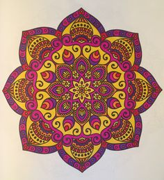 "A mandala from Color Me Fancy's ""Intricate Mandalas"" (2017). Colored by B. Holmes using Shin Han acid-based brush markers, 3-2017.  #mandala #adultcoloring #intricatemandalas #colormefancy"