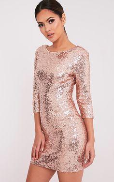 Eida Rose Gold Sequin Bodycon Dress - Dresses - PrettylittleThing | PrettyLittleThing.com
