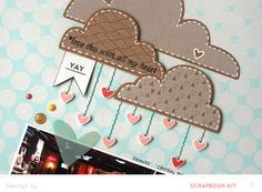"Sugar Rush sneak by Geralyn Sy for @Studio_Calico - the handstitched lines of ""rain"" under the kraft die cuts clouds is so creative! I also spy a stamped sentiment, enamel dots, and a plastic heart - so much goodness in one picture!"