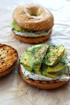 Dill Cream Cheese and Avocado Bagel!