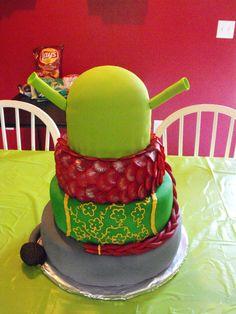 Original Shrek birthday cake. From top to bottom: Shrek, Dragon, Fiona, and Donkey