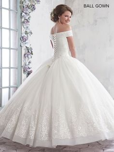 Off the Shoulder Lace Wedding Dress by Mary's Bridal Bridal-ABC Fashion Lacy Wedding Dresses, Wedding Dress Types, Classic Wedding Dress, Bridal Dresses, Wedding Gowns, Flower Girl Dresses, Lace Wedding, Tulle Ball Gown, Ball Gown Dresses