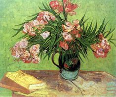 Vincent van Gogh Majolica Jar with Branches of Oleander painting for sale, this painting is available as handmade reproduction. Shop for Vincent van Gogh Majolica Jar with Branches of Oleander painting and frame at a discount of off. Fleurs Van Gogh, Van Gogh Flowers, Vincent Van Gogh, Art Van, Van Gogh Still Life, Van Gogh Arte, Art Sur Toile, Wassily Kandinsky Paintings, Impressionist Artists
