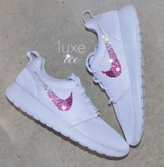classic fit 9d9bf 73f9d Nike Roshe One White White with Ombre SWAROVSKI® Xirius Rose-Cut Crystals.