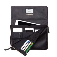 Elektronista Digital Leather Clutch Bag - Black | KNOMO