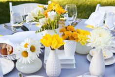 Yellow and grey wedding decor. Love the white milk glass and yellow flowers aga. Yellow and grey wedding decor. Love the white milk glass and yellow flowers against the grey linens! Flower Centerpieces, Wedding Centerpieces, Wedding Decorations, Table Decorations, Wedding Tables, Yellow Bouquets, Yellow Flowers, Bright Flowers, Wedding Color Schemes