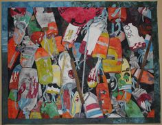 Raw edge collage applique quilt by Jane Haworth. Ocean Buoys from Newport, Oregon restaurant Ocean Blue