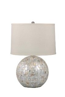 Mother of Pearl Orb Coastal Lamp