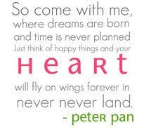 Peter Pan will always be my favorite story book, because it always reminds me that I'll always be a little girl at heart, and not to grow up too fast because these are the most important years. :)