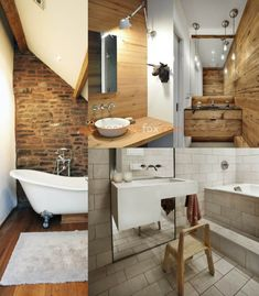 Loft Interior Design is known for unique industrial warehouse look. Over the last years Loft Interior Design has become appealing and very popular. Brick Bathroom, Loft Bathroom, Small Space Bathroom, Bathroom Floor Tiles, Small Spaces, Bathroom Ideas, Loft Interior Design, Loft Design, Bathroom Interior Design