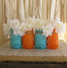 Set of 4 pint mason jars, ball jars, painted mason jars, flower vases, rustic wedding … – wedding centerpieces Wedding Centerpieces Mason Jars, Flower Centerpieces, Flower Vases, Orange Centerpieces, Centerpiece Ideas, Orange Decorations, Quinceanera Centerpieces, Rustic Centerpieces, Table Decorations