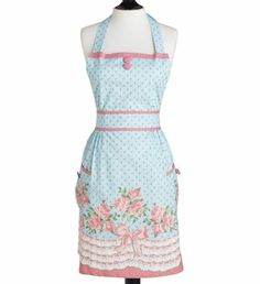 NWT~Jessie Steele~Floral Bib Apron~Blue/pink Roses Bows~OSFM~$38 *FREE SHIPPING*