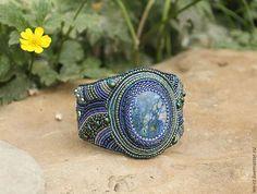 Купить Браслет с азуритом - синий, азурит, Вышивка бисером, браслет с камнями, украшения ручной работы