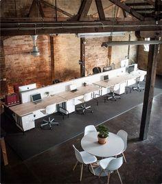 COMMUNE   Collaborative Warehouse for Creatives   Shared Desk Space in Sydney  Find more inspiration for commercial office design at www.fatshackvintage.com.au!