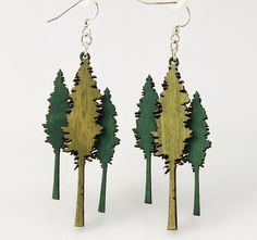 Huge Redwood Trees small enough to hang on your ears - Laser Cut Wood Earrings. $12.95, via Etsy.