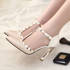 Beige Womens High Heel Rivet T-strap Pointy Toe Fashion Ankle Strap Sexy Pumps Shoes
