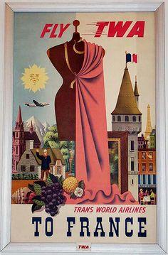Vintage TWA Travel Poster: France