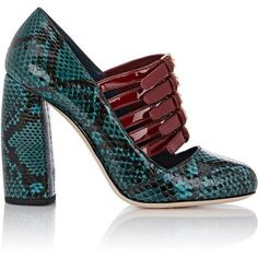 Miu Miu Bi-Color Multi-Strap Mary Jane Pumps (22450990 BYR) ❤ liked on Polyvore featuring shoes, pumps, heels, green, mary-janes, block heel pumps, heels & pumps, maryjane pumps and high heel pumps