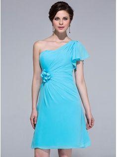 Sheath/Column One-Shoulder Knee-Length Chiffon Bridesmaid Dress With Flower(s) Cascading Ruffles