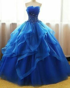 Exquisite Tulle & Organza Strapless Neckline Floor-length Ball Gown Quinceanera Dresses With Beaded Lace Appliques - Pretty dresses - Pretty Prom Dresses, Homecoming Dresses, Awesome Dresses, Formal Dresses, Elegant Dresses, Layered Dresses, Dresses Dresses, Summer Dresses, Casual Dresses