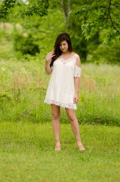 Easy white dress with a touch of lace for spring on I Do Declare blog.