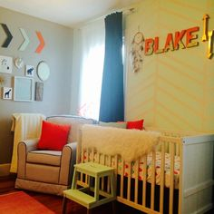 Blakes DIY Tribal Nursery Tribal Glam Nursery - love the pops of coral and gold in this sweet space! Nursery Themes, Themed Nursery, Nursery Ideas, Tribal Nursery, Nursery Modern, Southwestern Decorating, Coral And Gold, Baby On The Way, Project Nursery