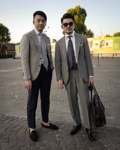 Many people have asked what we were wearing in the previous post. I was wearing a suit from Sartoria Raffaniello while my bro was wearing a jacket from Coccinella. Mens Fashion Suits, Mens Suits, Mens Attire, Urban Street Style, Men Formal, Gentleman Style, School Fashion, Wedding Suits, Asian Men