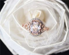 Fancy Oval Pink Morganite Ring Solid 14K Rose Gold by JulianStudio