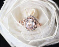 Fancy Oval Pink Morganite Ring Solid 14K Rose Gold by JulianStudio