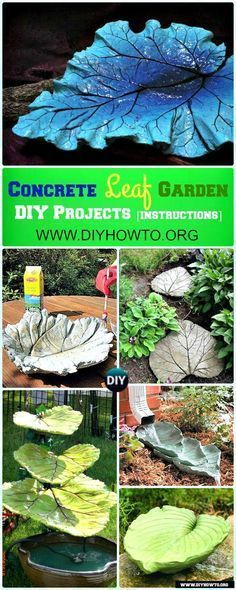 Easy and Fun Ideas to Create These Big Concrete Leaf Garden Projects via @diyhowto #Garden