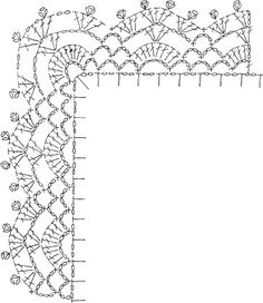Crochet Edging And Borders lo spazio di lilla: Schemi di bordi crochet con angoli, utili per copertine e tovagliette / Crochet edges with corner useful for baby blankets and placemats, free patterns Crochet Boarders, Crochet Edging Patterns, Crochet Lace Edging, Crochet Diagram, Doily Patterns, Crochet Chart, Crochet Designs, Crochet Doilies, Crocheted Lace