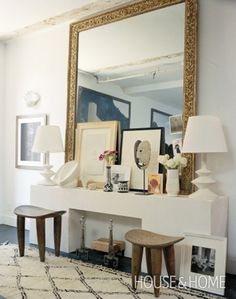 What a gorgeous hallway or entryway space, I love the huge mirror! /BR | @Allison House & Home