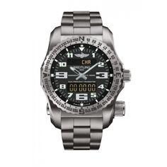 Breitling Professional Emergency II men's black dial titanium bracelet watch