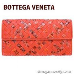 http://www.bottegaveneta-japan.com/ BOTTEGA VENETA 財布 長財布 メンズ レディース 二つ折り オレンジ スネークスキン スネーク 蛇皮 へび皮 150509 VV211 7501
