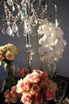 Decor It has been designing many of Melbourne's glamorous and visually stunning weddings, parties and events. Chandelier Crystals, Crystal Candelabra, Wedding Lunch, Our Wedding, Wedding Decorations, Table Decorations, Event Decor, Pink Roses, Melbourne