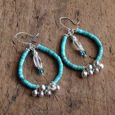 Turquoise and Sterling Silver Hoop Earrings. $72.00, via Etsy.