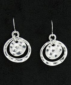 Look at this #zulilyfind! Silver Pounded Mobile Drop Earrings #zulilyfinds