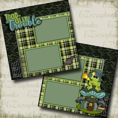 Toadally Trouble - 2 Premade Scrapbook Pages - EZ Layout 2608 8x8 Scrapbook Layouts, Baby Scrapbook Pages, Baby Boy Scrapbook, Scrapbook Sketches, Scrapbook Supplies, Simple Scrapbooking Layouts, Simple Scrapbook Ideas, Scrapbook Patterns, Scrapbook Quotes