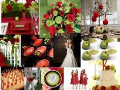 red and green wedding palate