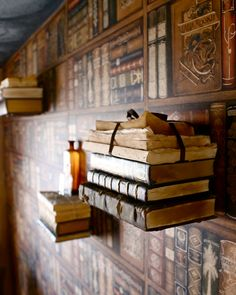 Harry Potter Room flying book wall.  Design by Jennifer Ewing.