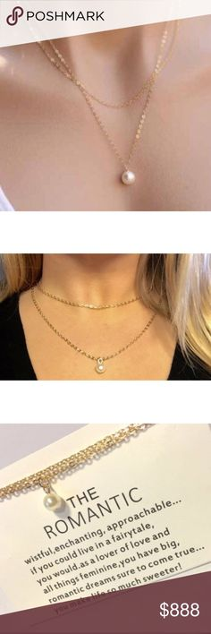 """Faux Pearl Layered Gold Necklace Adorable dainty layered necklace is made of zinc alloy and features a faux pearl pendant. This is the perfect piece for the romantic at heart. Simple layered necklace.   Strand Lengths: 18"""" & 21"""" with 2"""" extend chain.  Includes quote card. Jewelry Necklaces"""