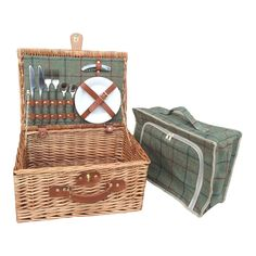 2 Person Green Tweed Fitted Picnic Basket - http://redhamper.co.uk/2-person-green-tweed-fitted-picnic-basket/  #fittedpicnicbaskets #shoppingbaskets