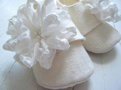 Organic Winter White Hemp Linen Shoe With Silk Flowers For Baby Girl. via Etsy.
