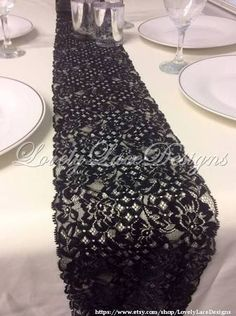 12ft Black Lace Table Runner Wedding runner 8in Wide x 144in Long