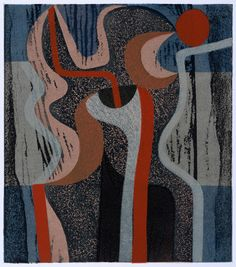 Peter Green - Night Flower Form - woodcut and stencil print