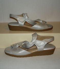 b3bf964a8c BEAUTIFEEL Womens Silver Metallic Soft Leather Wedge Dress Sandals 37   6  US NEW  BeautiFeel