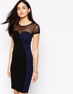 """Evening dress by French Connection Lightweight firm-stretch jersey Chiffon chest and yoke Zip back fastening Close cut bodycon fit Dry clean 88% Viscose, 10% Polyester, 2% Elastane Our model wears a UK 8/EU 36/US 4 and is 175 cm/5'9"""" tall"""