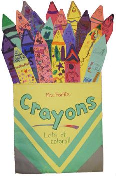 don't know what the box of crayons has to do with the library yet, but it makes a cute big shape for a bulletin board!
