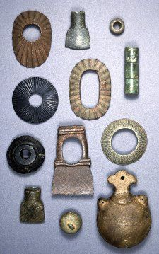 Assortment of tubes, rings, and vessels. Stone, Japan, 200-500, Kofun period.