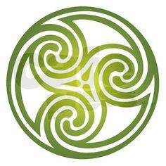 "Celtic trefoil spiral design (dark green) 84"" Curt"